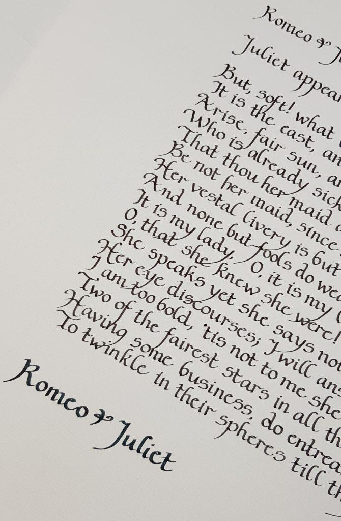 Custom Calligraphy by Artist Paula Harris. Romeo & Juliet